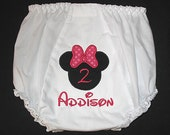 Custom Personalized Applique Birthday MINNIE MOUSE and NAME Baby Bloomers - Choose Pink, Hot Pink, Red, Lime Green, or Turquoise Bow