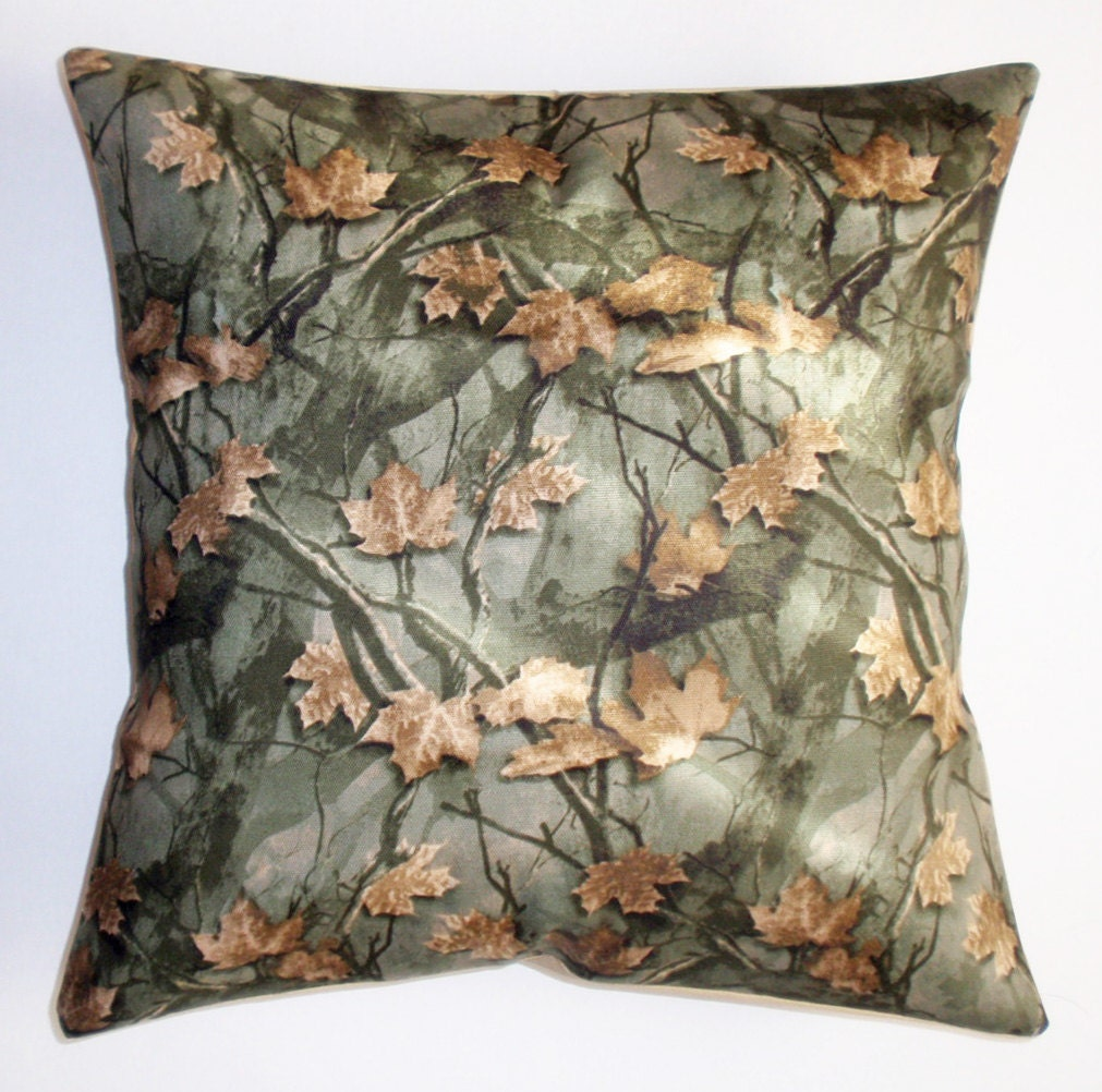 Throw Pillow Cover Man Cave Camo Cushion Cover Leafy Forest