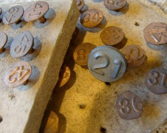 Rare Antique Numbered Copper Tacks Steampunk and Assemblage Supplies Lot of 3