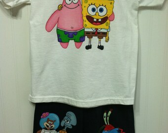 Custom Painted Spongebob 6 characters  shirt and long jeans or shorts