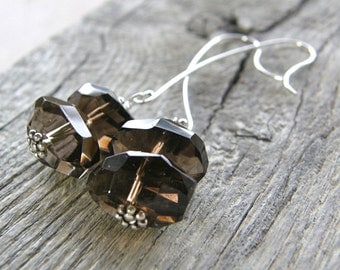 Smokey Quartz Sterling Silver Dangle Earrings, Simple Stone Nugget Earrings
