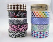 roll of washi decorative paper tape-rainbow hearts print