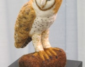 Barn Owl: Needle Felted Sculpture OOAK (item available now)