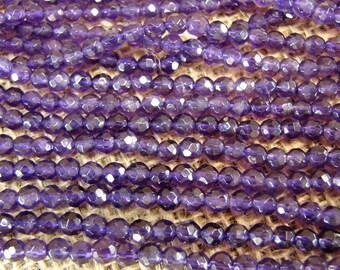 Beautiful Deep Purple Amethyst Gem Beads - One Strand