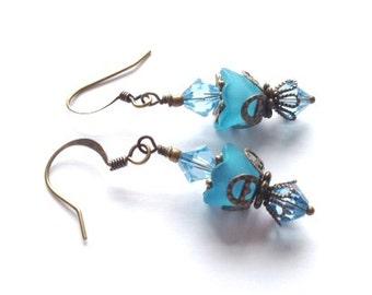 Lucite Flower Earrings, Crystal Swarvoski Earrings, Opal Blue Earring, Victorian, Art Nouveau, Brass Vintage Earrings, My Julie Jewels