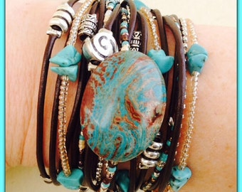 Boho Leather Wrap Bracelet - Brown & Turquoise Hippie Style Bracelet - Jasper Natural Gemstone - Brown Boho Wrap Bracelet