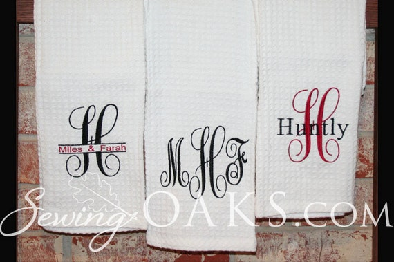 Monogrammed Kitchen Towel 3 Embroidery Designs To By Sewingoaks