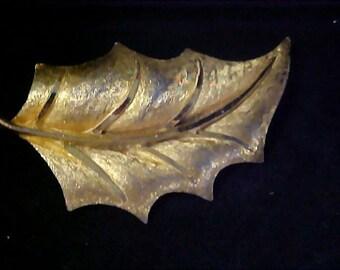 Textured & Polished HOLLY LEAF~Designer B.S.K.~Gold Plate Brooch