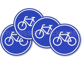 Bicycle Sign Round Coasters - Set of 4