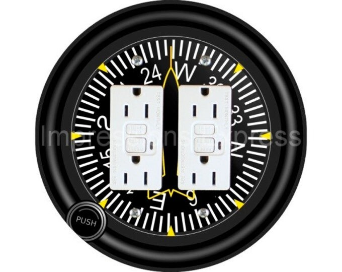 Direction Heading Indicator Aviation Double GFI Outlet Plate Cover