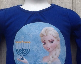 Frozen Hanukkah shirt and bow set, kids Hanukkah shirt, frozen bow, Hanukkah, Chanukah frozen bow, frozen shirt, Elsa, Jewish, star of david