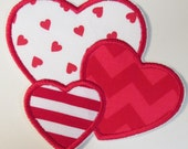 Valentine Day Trio of Hearts - Iron On or Sew On Applique  READY TO SHIP in 3-7 Business Days