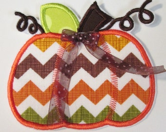 Holiday Pumpkin in Fall Chevron Fabric - Iron On or Sew On Applique