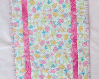 Easter Egg Quilted Table Runner - Pink Yellow Green Blue