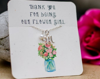 Flower girl gift,  flower girl necklace, personalized initial gift necklace, flower girl thank you gift, birthstone initial girl necklace