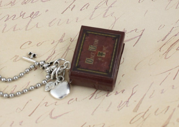 Once Upon A Time Book Necklace - Poison Apple and Queen's Keys - OUAT - Snow White - Jewelry - Evil Queen - Fairy Tales - Jewelry