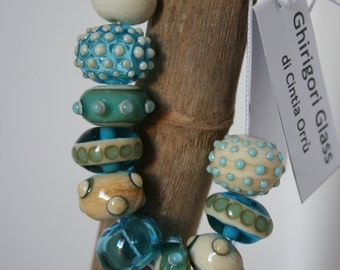 Handmade Lampwork Beads Set by GhirigoriGlass, for Necklace or Bracelet, Ivory, aquamarine with Dots