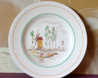 Wood & Sons Tall Trees Windmill Wroxham plate,20cm,art deco style,windmill scene,trees,Wood and sons plate,cream plate,