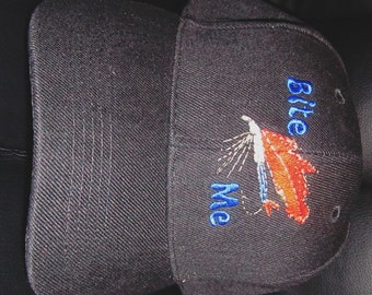 Embroidered Baseball Hat with Fishing Lure-Bite Me