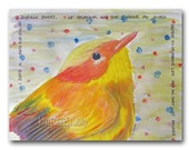 Modern Whimsical Bird Watercolor 8x10 Nursery Decor Fine Art Painting with original words sweet yellow bird spring colors contemporary art