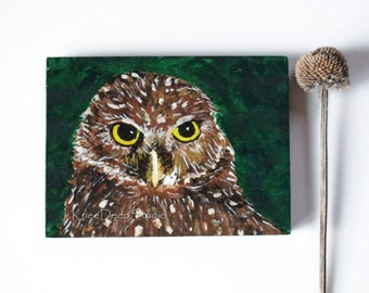 Miniature Owl Painting mini ACEO acrylic on wood Northern Saw Whet Owl with easel original wildlife portrait animal totem tiny art under 45