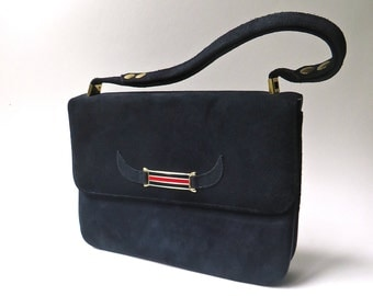 60s vintage Mod Navy Blue Suede Narrow Profile Purse