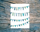 Happy Birthday (bunting) - A2 folded note card & envelope - SKU 119