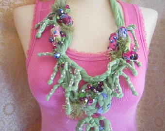 FuNky Green Beaded Necklace, Scarf Necklace, Boho Necklace,  Gypsy Necklace, Bib Statement Necklace