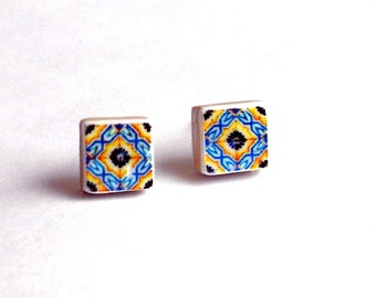 Portugal  Antique Azulejo Tile Replica Post Stud Earrings,  Ilhavo, Orange and Blue-  505 Gift Box Included