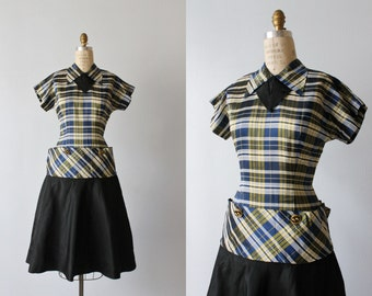 1950s Dress / 50s Dress / Size 4-6 / Party Dress / Plaid / Lindy Hop