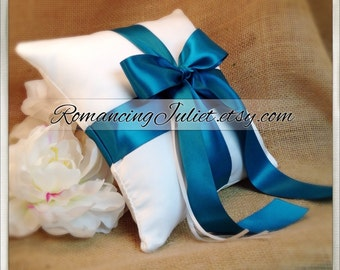 Romantic Satin Ring Bearer Pillow...You Choose the Colors...Buy One Get One Half Off...shown in white/teal oasis