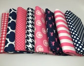WINTER SALE - Derby Style - Fat Eighths Bundle (8) in Navy/Pink - Melissa Mortensen for Riley Blake Designs