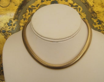 Vintage Monet Necklace Tubogas Choker Gold Flat Chain Serpentine With Extender Signed