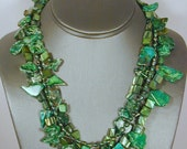 SALE ITEM.  3-Strands of various shades of green beads