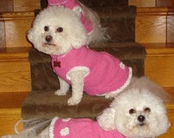 Pink Dog Sweater, Hand Knit Pet Sweater, Pet Top, Size SMALL, Flared Skirt, Pink Pinafore Dress Sweater