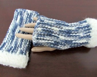 Fingerless Gloves in White, Gray and Slate Blue, Faux Fur Trim - Ready To Ship - Texting Gloves Arm Warmers Stretch Gloves
