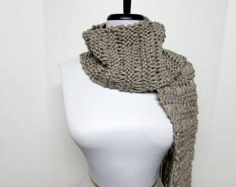 Drop Stitch Knit Scarf in Taupe - Ready To Ship Women's Fringe Tan Scarf Long Scarf Girl's Scarf