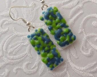 Fused Glass Earrings - Boho Earrings - Hippie Earrings - Fused Glass Jewelry - Bohemian Earrings - Glass Earrings - Retro - Mosaic X5174