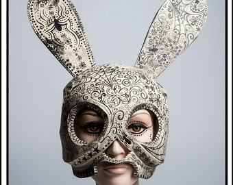 Bunny… Skull Bunny Mask with Day of Dead Painting Headdress