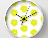 Limes pattern wall clock, wall decor, kitchen home decor, green white wall art, lime art decorative clock
