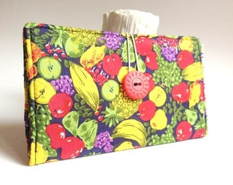 "Silk Tampon and Pad Clutch Multi-colored Fruit ""Privacy"" Pouch - Lotta Fruitta"