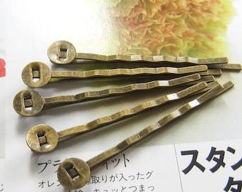 24 pcs - Antique brass bobby pin/hair pin (HC-BR-55m)
