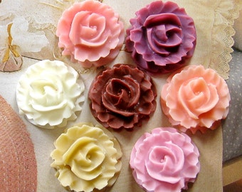 28 pcs 15mm - Lovely Ruffled Rose Cabochon (CA810-Ass-8C)