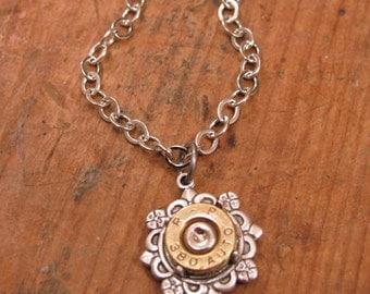 Bullet Jewelry - Bullet Designs - Gun Jewelry - Petite 380 / 32 Auto Single Bullet Flower Filigree Pendant Necklace