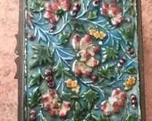 vintage brass enamel floral jewelry box trinket dresser hinged wood lining