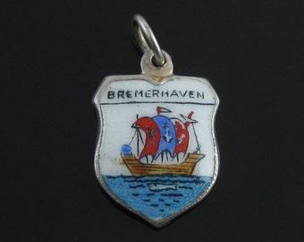 Charm, Bremerhaven, Enamel Ship Charm, Travel Shield, 800 Silver Charm