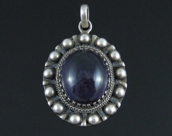 Pendant, Large Oval Stone, Amethyst, Vintage, Sterling Silver, Studded Border, Hippie Pendant