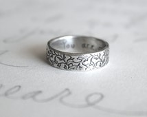 recycled silver wedding ring . engraved vine band . simple rustic wedding band . handwritten words inside by peacesofindigo