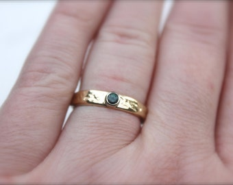 gold engagement ring . simple engagement ring . rustic wedding band ring . recycled 14k gold sapphire engagement ring . ready to ship size 6