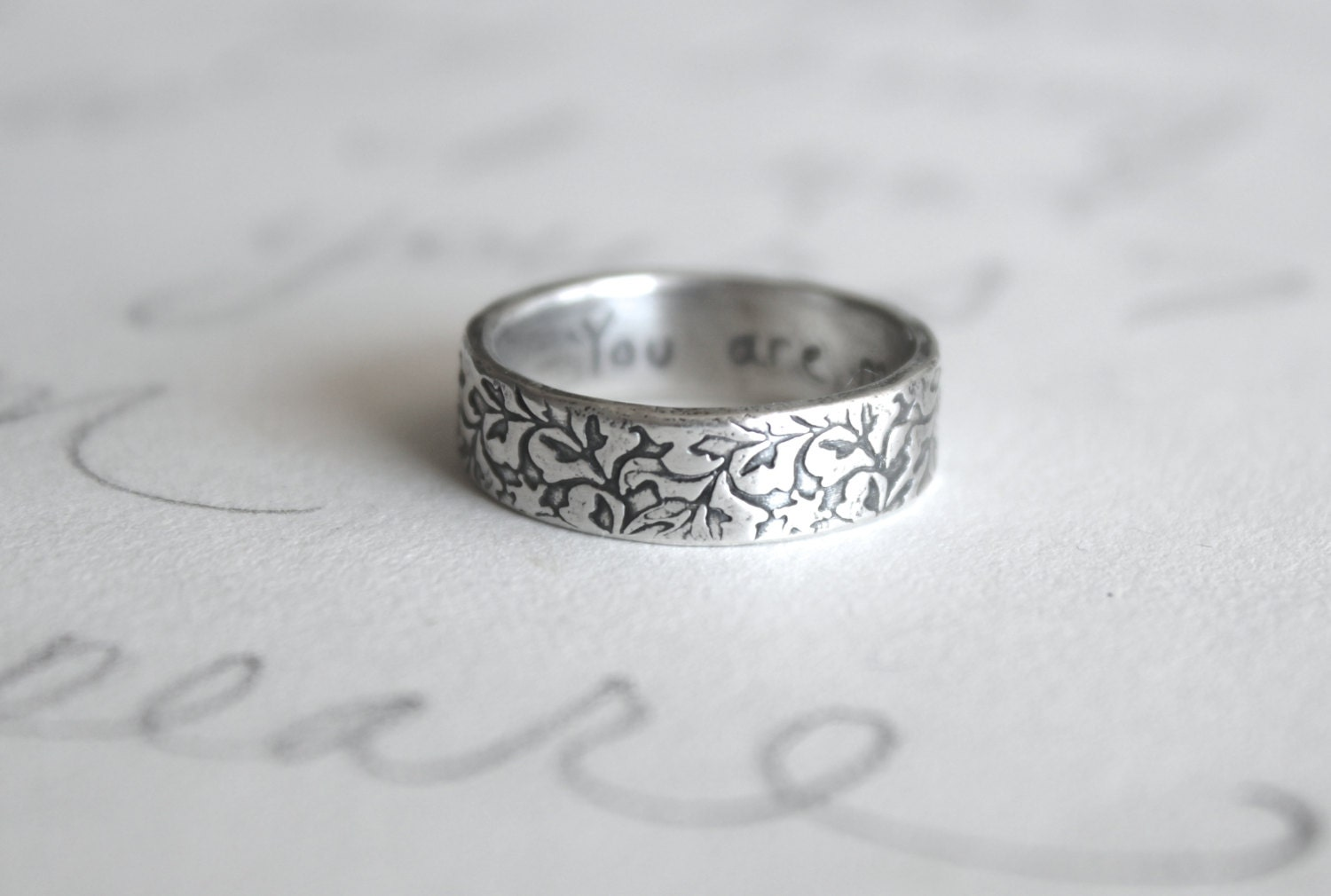 Recycled Silver Wedding Ring Engraved Vine Band Simple